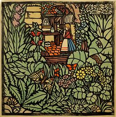 Franz von Zülow (Austrian,1883-1963)Frau Holle. Ein Märchen (Mother Hulda. A Fairy Tale),190645,3 x 45,5 cm, paper stencil print and watercolor on paper
