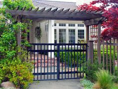 double iron walk gate with arbor