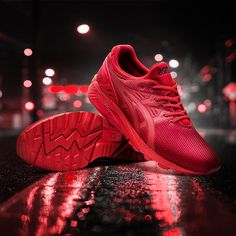 make a statement in the Asics Tiger Gel-Kayano EVO Trainer in red. Available now online & in store.