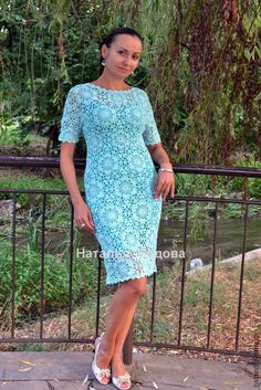 """Купить Платье """"Изыск ментола"""" - мятный, цветочный, летнее платье, вязанное платье, платье крючком Lace Summer Dresses, Wedding Dresses Plus Size, Crochet Skirts, Crochet Clothes, Blouse Dress, Knit Dress, Irish Crochet, Knit Crochet, Crochet Blanket Edging"""