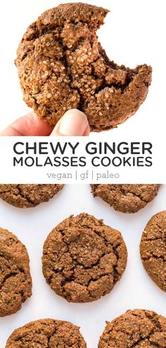 These chewy ginger molasses cookies are a healthy sweet treat and just perfect for gifting or a crowd during the holidays or Christmas! Gluten-free, grain-free vegan, this easy homemade recipe is the best and so soft! Foods With Gluten, Gluten Free Desserts, Dessert Recipes, Vegan Gluten Free Cookies, Easy Vegan Cookies, Ginger Molasses Cookies, Ginger Snap Cookies, Healthy Sweet Treats, Healthy Cookies
