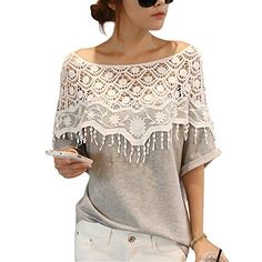 DJT Crochet Cape Lace Collar Batwing Sleeve T-shirt in Grey | Fashion Finds from Selena