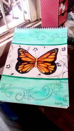Mariposa hecha con lápices acuarelables. #Acuarelas #Lápices #Mariposa #Butterfly #Draw
