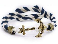 Kiel James Patrick Anchor Bracelet (Navy/White)