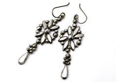 Antique Victorian cut steel floral drop shepherd's hook earrings