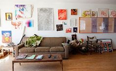 quadrini's comfy-looking art-filled living space
