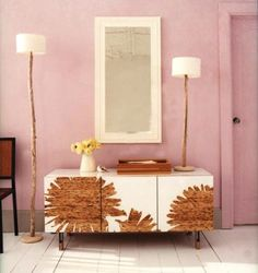 Floral Prints on @HGTV by Jeanine Hays.  Bamboo console, floral patterns, modern finish - Domino Magazine.