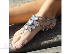 Gypsy inspired rhinestone barefoot sandals for festivals and weddings.. My newest silver jeweled beach wedding foot jewelry with a boho twist. What makes these fun jeweled barefoot sandals so great fo