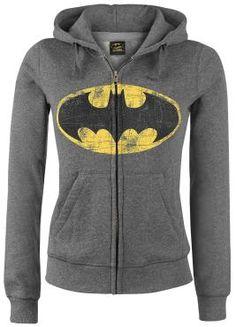 """Batman Hættetrøje med lynlås, Damer """"Logo"""" mørk grålig • EMP"""