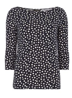 Navy spotted 3/4 sleeve Jersey Top - Dorothy Perkins