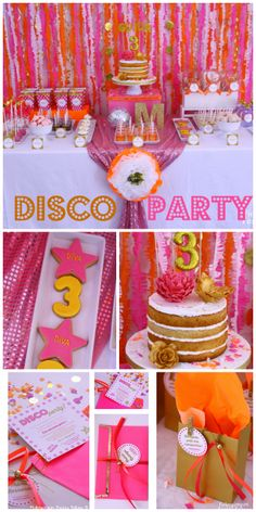Pink and gold cookies, cake and invitations are at this Disco girl birthday party!  See more party ideas at CatchMyParty.com!