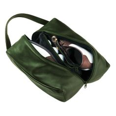 Royce Leather Suede Lined Deluxe Shoe Bag Top Grain Nappa Leather 660-GREEN-5