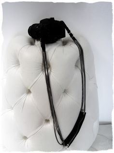 diy leather and chain camera strap. NEED