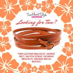 Thin leather bracelet features genuine leather with a bronze metal buckle at one end. Perfect for wearing as a skinny belt! Or wrap it around your wrist a few times for a cute layered look. Or use it