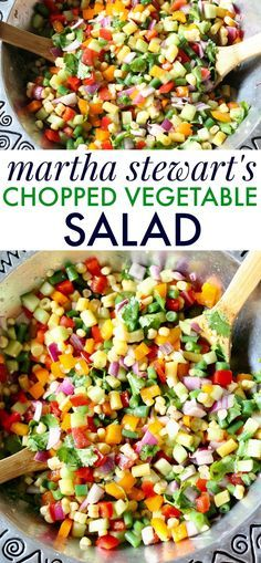 Martha Stewart's Chopped Vegetable Salad Recipe. The best mix of fresh veggies. Perfect for spring and summer parties! #choppedsalad #vegetablesalad #easysidedish