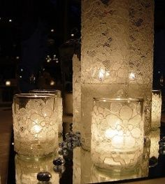 Wedding candle centerpieces with lace