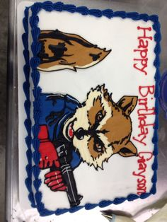 Rocket Raccoon From Guardians Of The Galaxy Cookie Cake