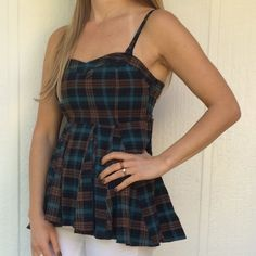 NEW Free People plaid top NWOT spaghetti strap flannel top in blues and browns • sweetheart cut • 100% cotton Free People Tops