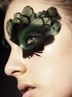 Awsome makeup for a Halloween costume! Feathers incorporated with eye makeup. Also good for masquerade makeup