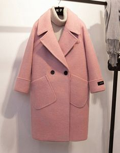 Spring Winter Wool Coat For Women 2018 jacket Casual Pink Coats Loose Turn-Down Collar Solid Wide-Waisted Long Wool Coat Vetements Clothing, Looks Style, My Style, Look Rose, Winter Stil, Coat Patterns, Skirt Patterns, Blouse Patterns, Clothes Patterns