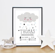 SMALL CLOUD - birth announcement / birth gift / child& picture - personalized - SMALL CLOUD – Gift for Birth / Baptism – Birth Picture – Birth Announcement by DrawingBirdy o Parent Gifts, Kids Gifts, Birth Pictures, Name Frame, Birth Gift, Foto Baby, Baptism Gifts, Kids Room Art, Children Images