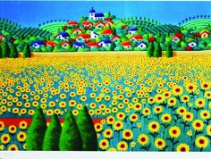 """Fields of Gold"" US$39 (unframed: 10 x 14 inches)  by Joanne Netting, available wholesale, worldwide (free shipping), from the artist; email: mailto:jnetting2@... This is a limited edition signed mini print reproduced from an original acrylic on canvas painting.  © Joanne Netting 1993. #art"