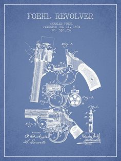 Foehl Revolver Patent Drawing From 1894 - Light Blue by Aged Pixel
