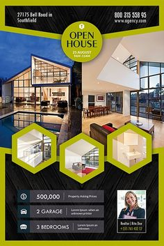 Open House Flyer Template Word New top 25 Open House Invitation Templates From the Pros Real Estate Ads, Real Estate Flyers, Real Estate Marketing, Creative Brochure, Corporate Brochure, Inmobiliaria Ideas, Nice Ideas, Free Psd Flyer Templates, Invitation Templates