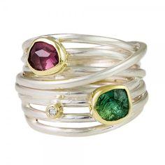 Margoni: Tourmaline And Diamond 18ct Yellow Gold Silver Wrap Ring