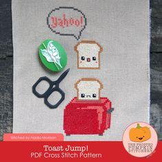 Toast Jump! PDF Cross Stitch Pattern / The Frosted Pumpkin Stitchery