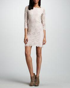 Zarita Lace Dress, Nude by Diane von Furstenberg at Neiman Marcus.