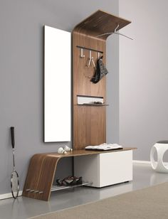 Modern Hall Tree. Entryway, mudroom, organization & home decor.  Functional furniture design ideas.