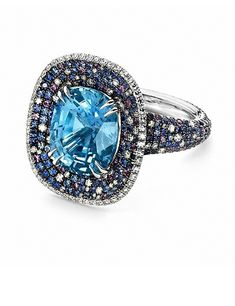 8.46 carat Spotted Pale Blue Sapphire Ring