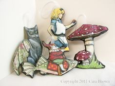 Alice in Wonderland Magic Mushroom Christmas Ornaments Handmade set of 2. $30.00, via Etsy.