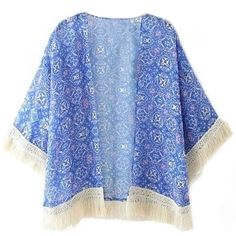 blue floral print lace kimono (€23) ❤ liked on Polyvore featuring intimates, robes, kimonos, tops, tops/outerwear, cardigans, blue floral kimono, lace kimono, floral lace kimono and kimono robe