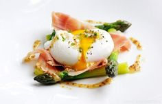 Poached duck egg with English asparagus, cured ham and grain mustard dressing - Matthew Tomkinson