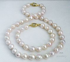 HS #Baroque 9.5X12.5mm #Akoya Cultured #Pearl #Necklace & #Bracelet Set #14K #Diamonds #Jewelry #Anniversary #Bridal