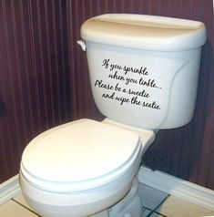 If you sprinkle when you tinkle Bathroom- Vinyl Lettering wall words graphics  decals  Art Home decor itswritteninvinyl on Etsy, $10.99