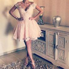 Sexy backless do laço do vintage vestidos de regresso a casa do baile de finalistas 2017 decote em v profundo apliques rosa barato curto graduação cocktail dress vestidos(China (Mainland))