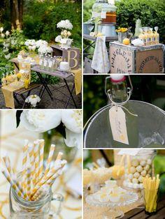 Cool idea for a bridal shower: lemonade summer theme.
