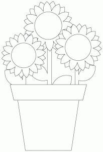Dibujo de flores en maceta