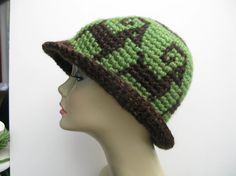 Tapestry Crochet Cloche Wide Rimmed Hat Italian by WowwyGaZowwy