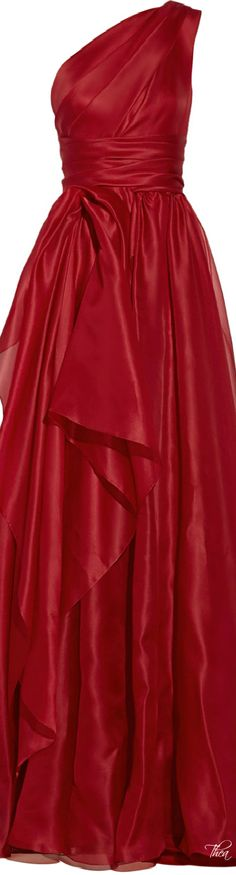 Marchesa one shoulder draped silk ~ Gazar Gown in Red ~~ Lyst jaglady Marchesa, Red Gown Dress, Drape Gowns, One Shoulder Gown, Festa Party, Red Gowns, Glamour, Red Fashion, Beautiful Gowns