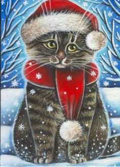 Longhair Tabby Cat Kitten Christmas Snow Painting Christmas Scenes, Christmas Animals, Christmas Cats, Winter Christmas, Winter Snow, Merry Christmas, Winter Cat, Holiday, Cat Embroidery