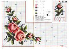 cross stitch table cloth pattern kanaviçe masa örtüsü etamin xstitch rose