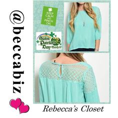 HOST PICK! Mint Color Top / cute crochet accents Host Pick 2/17/16 Wardrobe Refresh Party!!!   Beautiful Spring Top With cute crochet accents.  Available: 2 small, 2 medium and 2 large.   You may purchase this listing.     ⚡️Please state which size you are buying.  Prices are firm unless bundled.  10% off bundles of 2 or more.  No Trades.   (Photos used with permission of designer) Boutique Tops