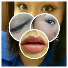 Wearing my #ElizabethMott waterproof #eyeliner in #glitterati and on the lips, i am wearing #nyx #mattelipstick  in color #TeaRose and #Nyx #ButterGloss in #Apple#Strudel
