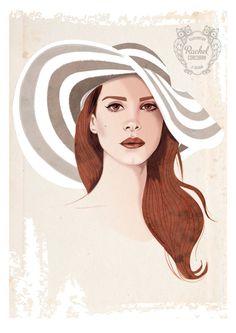 LANA DEL REY Portrait Poster - Fashion Illustration - Digital Print - Summer Striped Hat - Brown & Beige