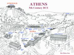 During the Classical Period, Athens thrived as a democratic power. This was the first democratic society in the world. The city gave power to Males in the form of the right to take part in the democratic process. Athens Map, Parthenon Athens, Acropolis, Ancient Greek City, Ancient Greece, Athenian Democracy, Greece Map, Greece Travel, Athens Greece