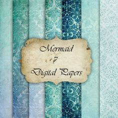 Mermaid- Digital Paper for Scrapbooks, graphics, decoration, backgrounds, invitation. $2.00, via Etsy.